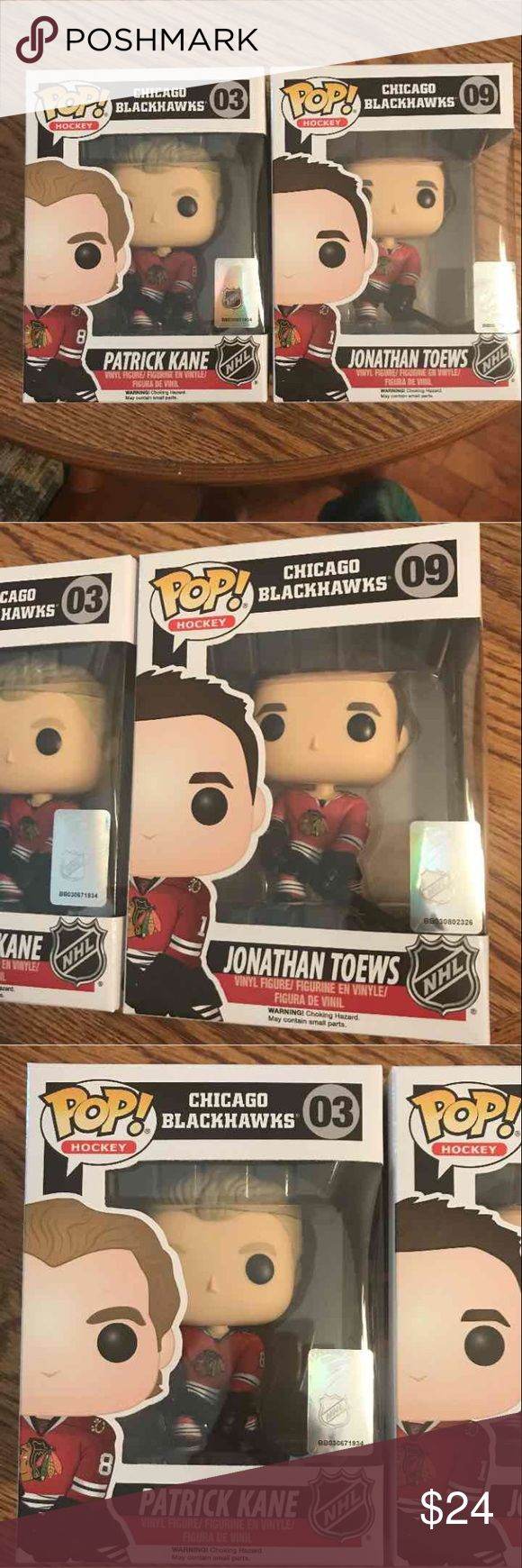 The Chicago Blackhawks Funko Pops X 2 (PlzRead BRAND NEW IN BOX*NO TRADES*PRICE IS FIRM*APPROPRIATE COMMENTS ONLY* May bubbling or slight flaws Of The package from the manufacturer,overall great condition #NHL Hockey Patrick Kane  Jonathan Toews Accessories