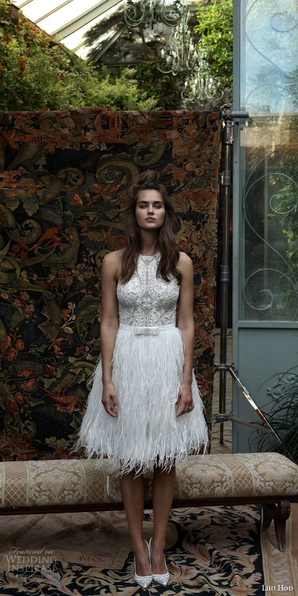 lihi hod bridal 2016 rio sleeveless halter neck lace bodice feather skirt short wedding dress full view