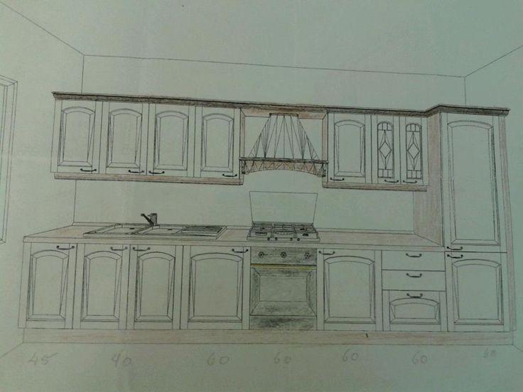 Progetto Cucina classica parete lineare con colonna frigo integrata.