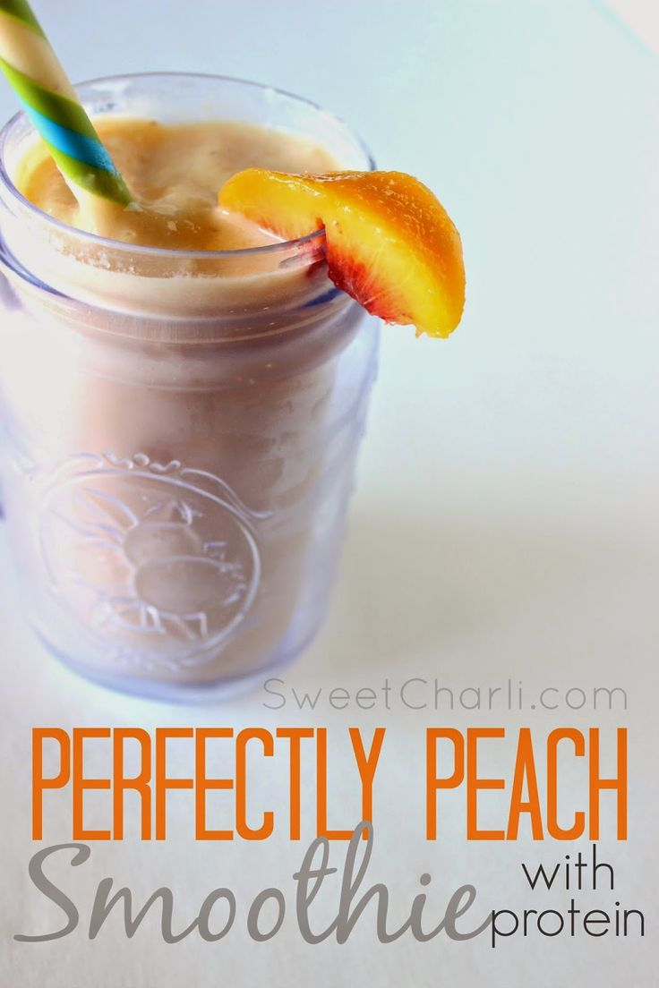 Fresh Peach Smoothie (with protein) + How to Freeze Fresh Peaches. #peach #smoothie #protein