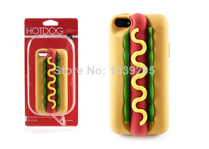 2014 New Hikalimedia Creative 3D Hot Dog Case Silicone Soft Back Phone Cover Case for iPhone5 iPhone 5 5S with Retail box $12.50