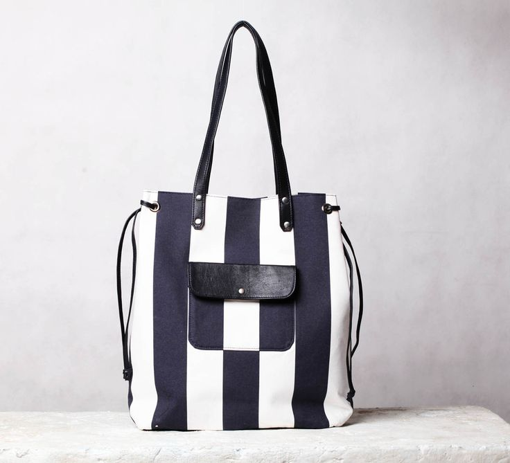 Nautical canvas tote bag. Blue/ white beach bag. Cotton and leather tote. | 5plus