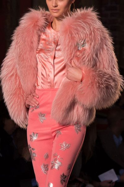 Stunning pink outfit - pink pants, pink fur coat, pink silk shirt - Roccobarocco, Fall 2014