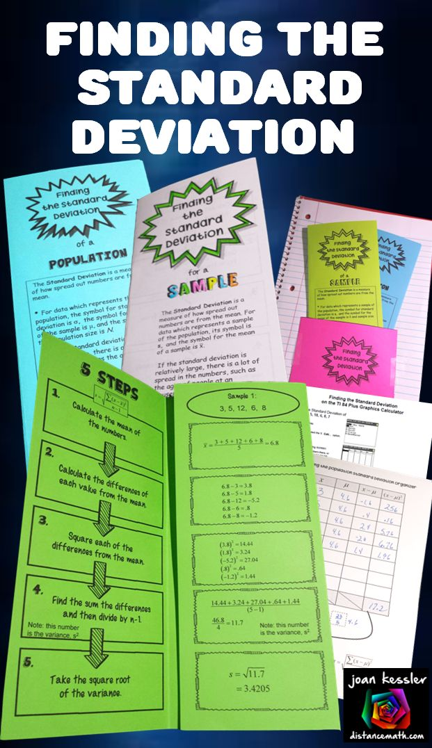 Statistics and algebra bundle of organizers to help students evaluate the Standard deviation.