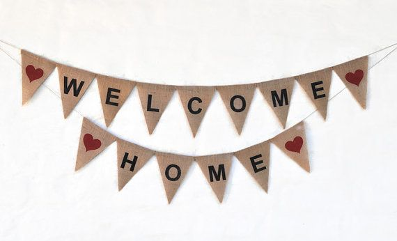 WELCOME HOME Banner Hessian Burlap Party Celebration Party Banner Bunting Decoration photo prop house warming