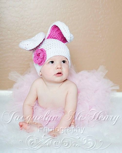Floppy Ear Bunny Beanie in White and Bright by mamamegsyarnshoppe, $24.00