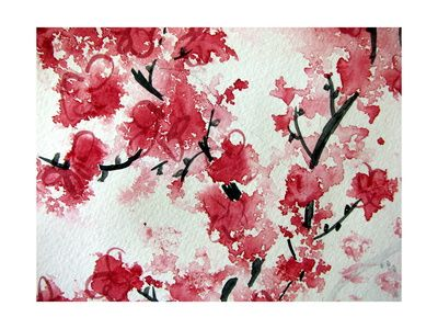 Cherry Blossom Watercolor On Paper Art Print at AllPosters.com