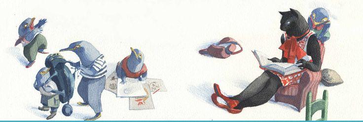 Ilustración de Eva Sánchez, gatita negra leyendo. Se Renta Departamento, libro ilustrado de Leetra.