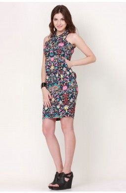 Blue  Multi Floral Shift Dress−Women apparel The dress has an uplifting aura about it that comes from the vibrantly colored floral print making this shift dress a big hit this season. Match the dress with a sleek pair of heels and head out for your party night out.