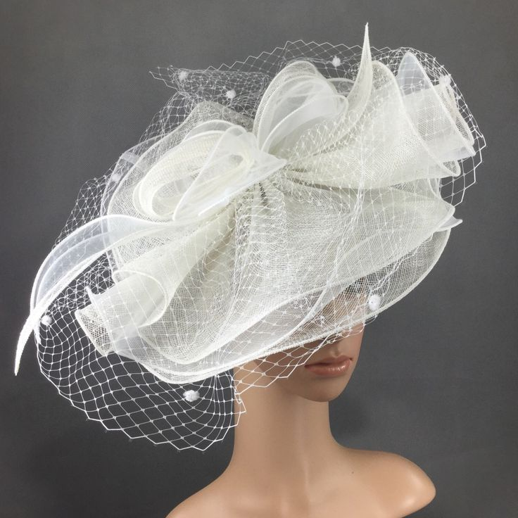 White Veiling Fascinator, Womens Tea Party Hat, Church Hat, Derby Hat, Fancy Hat, Champagne Gold Hat, Tea Party Hat, wedding hat by theoriginaltree on Etsy https://www.etsy.com/listing/475443871/white-veiling-fascinator-womens-tea