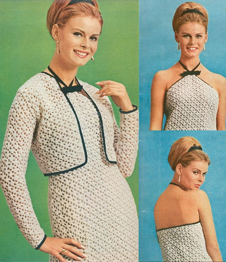 Crochet Halter Sheath and Short Jacket Pattern Vintage 1960s PDF