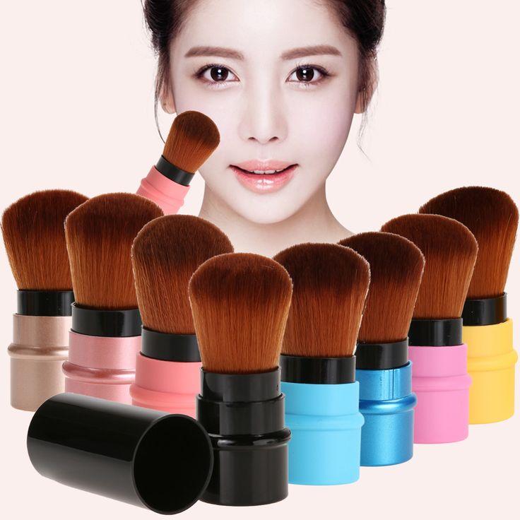 Ditarik Mini Makeup Sikat Portabel Lembut Kosmetik Yayasan Blusher Contour Bedak Wajah Brush Alat Kecantikan Profesional