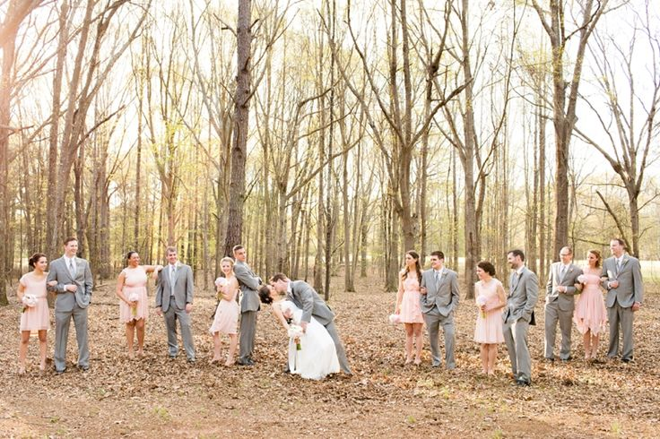 southern wedding soft blush pink bridesmaid dresses grey groomsmen suits bridal party...this is perfect!!