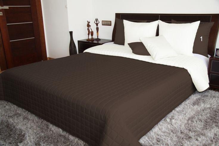 Dwustronne brązowo kremowe narzuty i kapy na łóżko