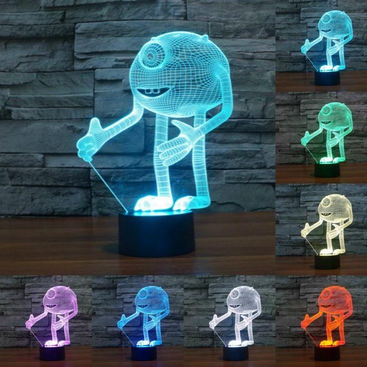 Monsters Inc Michael Wazowski Mike 3D Illusion LED Lamp