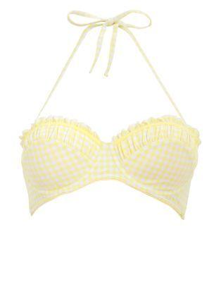 Kelly Brook Yellow Gingham Underwired Bikini Top - Bikinis - Womens | New Look