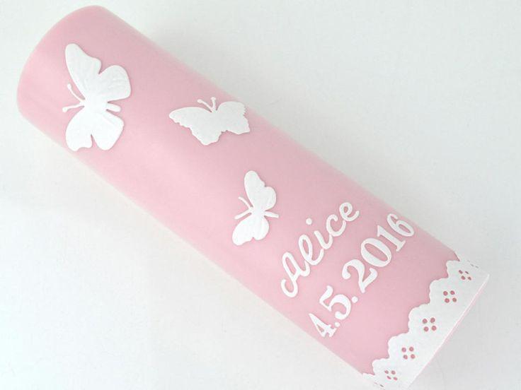 #Taufkerze #Taufe #rosa #mio-colori-Kerzen #DaWanda.com #Schmetterling #Kerze