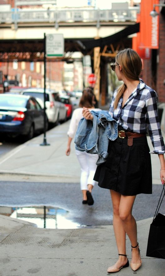 check it out: Gingham, Full Skirts, Plaid Skirts, Jeans Jackets, Spring Summ, Black Skirts, Plaid Shirts, Work Outfits, Buffalo Check