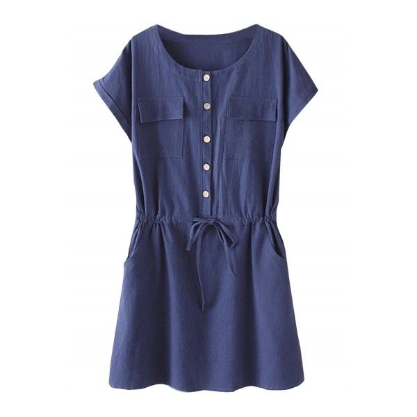 Women's Casual Short Sleeve Drawstring Waist Dress With Pockets ($26) ❤ liked on Polyvore featuring dresses, navy, round neck short sleeve dress, pocket dress, short sleeve dress, short-sleeve dresses and round neck dress