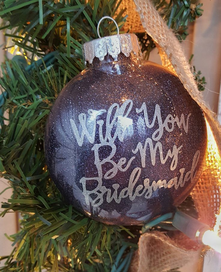 Will You Be My Bridesmaid Christmas Ornament-Glitter Ornament-Christmas Ornament-Plastic Ornament-Shatterproof Ornament-Holiday Gift by ALittleLadyandMe