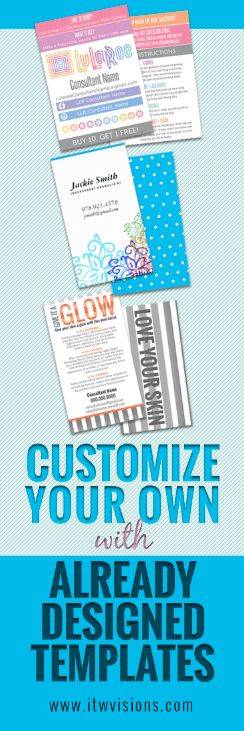 make your own business cards with already designed templates, lularoe fashion consultant designs as well as rodan and fields skin care health and beauty and makeup artists. customize, review and order online. can help you design custom business cards, flyers, brochures, postcards, thank you cards and more.