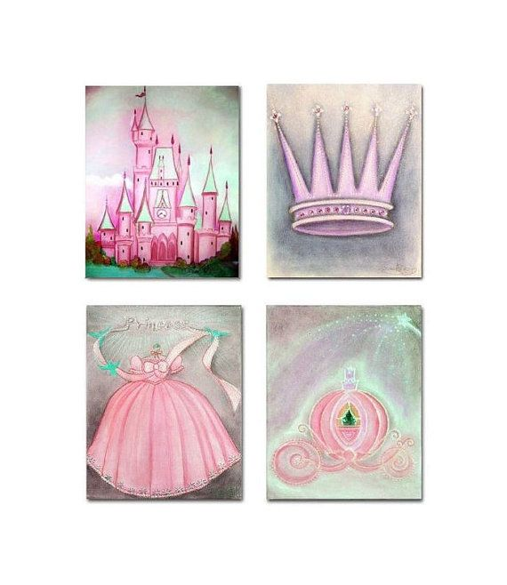 Princess Wall Art SET OF 4 Prints Princess Nursery by handpainting