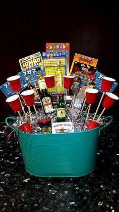 21st birthday gift for a guy #liquor #21 #basket #chipotle #scratchoffs #birthday #prestent #boy #guy