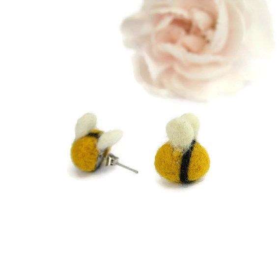 Tiny Needle Felted Bumblebee Earrings Bee by Middlemistmakes1