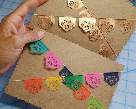 Miniature papel picado fiesta cake topper bunting - sets of 2 - LAS FLORES