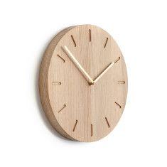 Applicata Watch:Out oak clock (brass, grey or mandarin hands)