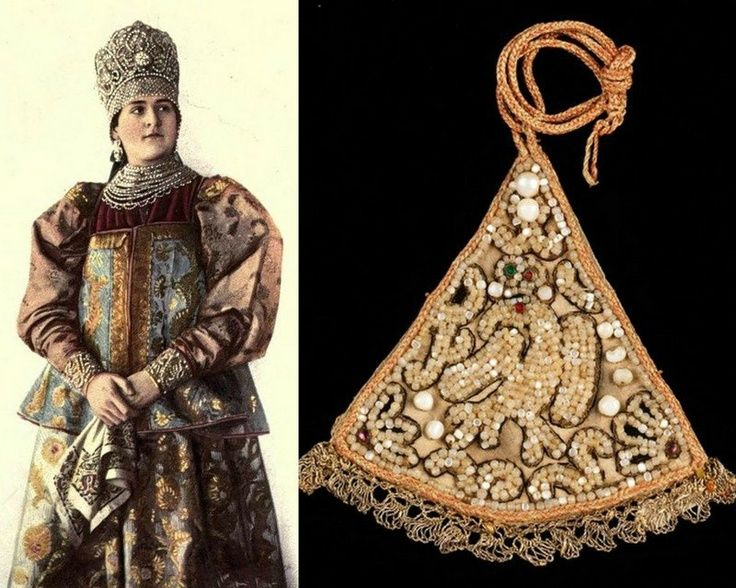 Left: Northen Russia, Novgorod province (Collection Chabelskaya). traditional Russian costume and headdress. Right: kosnik (nakosnik) - hairpiece for unmarried women, tied on the end of the braid.
