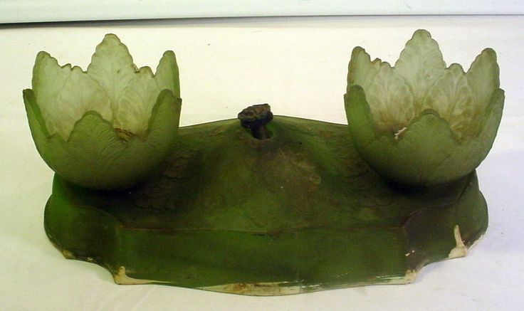 Antique Victorian Wall Light Satin Glass Green Double Light Electric