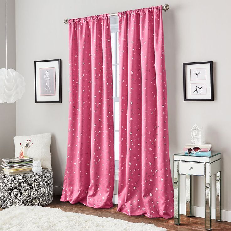 Curtainworks Starry Night Room Darkening Curtain, Pink