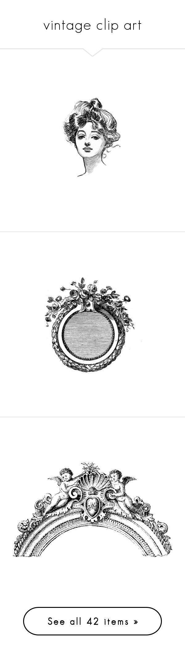 """""""vintage clip art"""" by romantic-salvage ❤ liked on Polyvore featuring backgrounds, faces, fillers, illustrations, people, frames, circles, borders, decor and picture frame"""