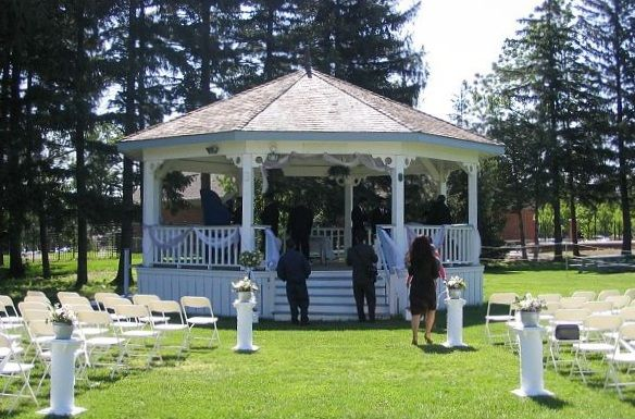 Wedding ceremony set up in front of our gazebo.