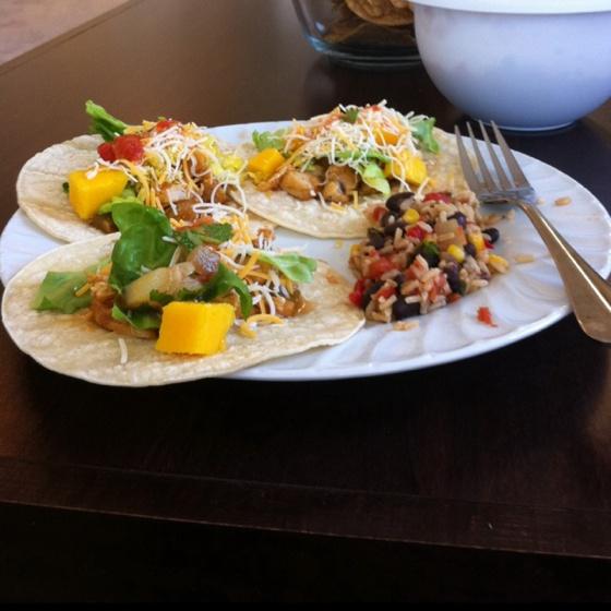 Chicken mango tacos and black bean corn rice. Chicken: Grilled chicken ...
