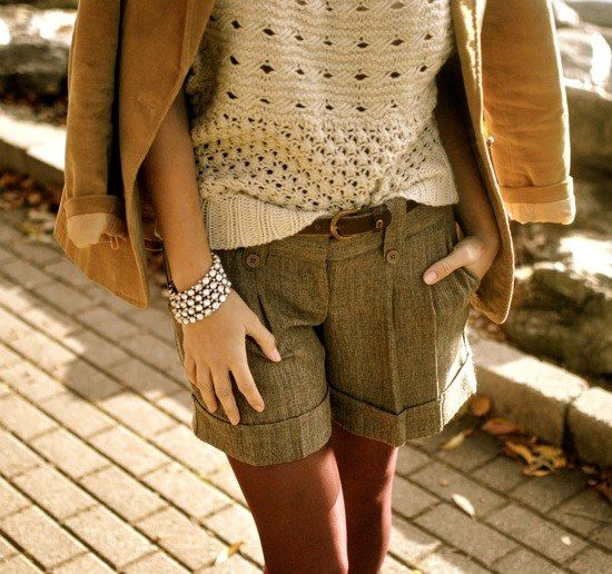 tweed shorts and tights.  Would look great with a knee length walking short
