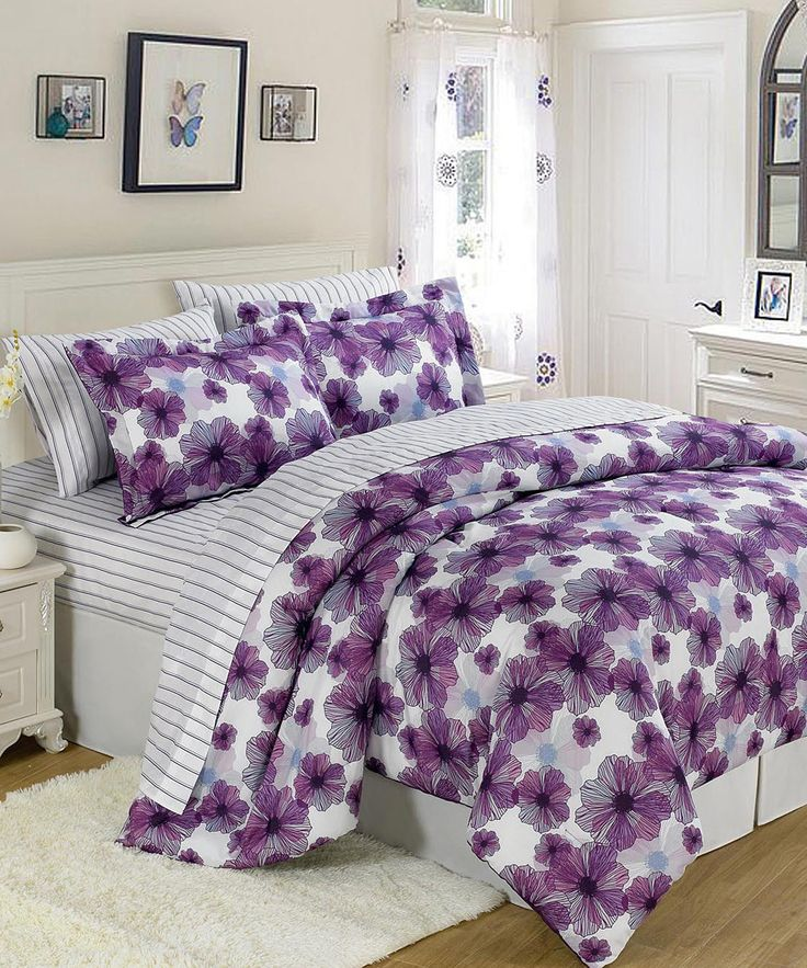 Purple Amp White U S Polo Floral Bed In A Bag Set