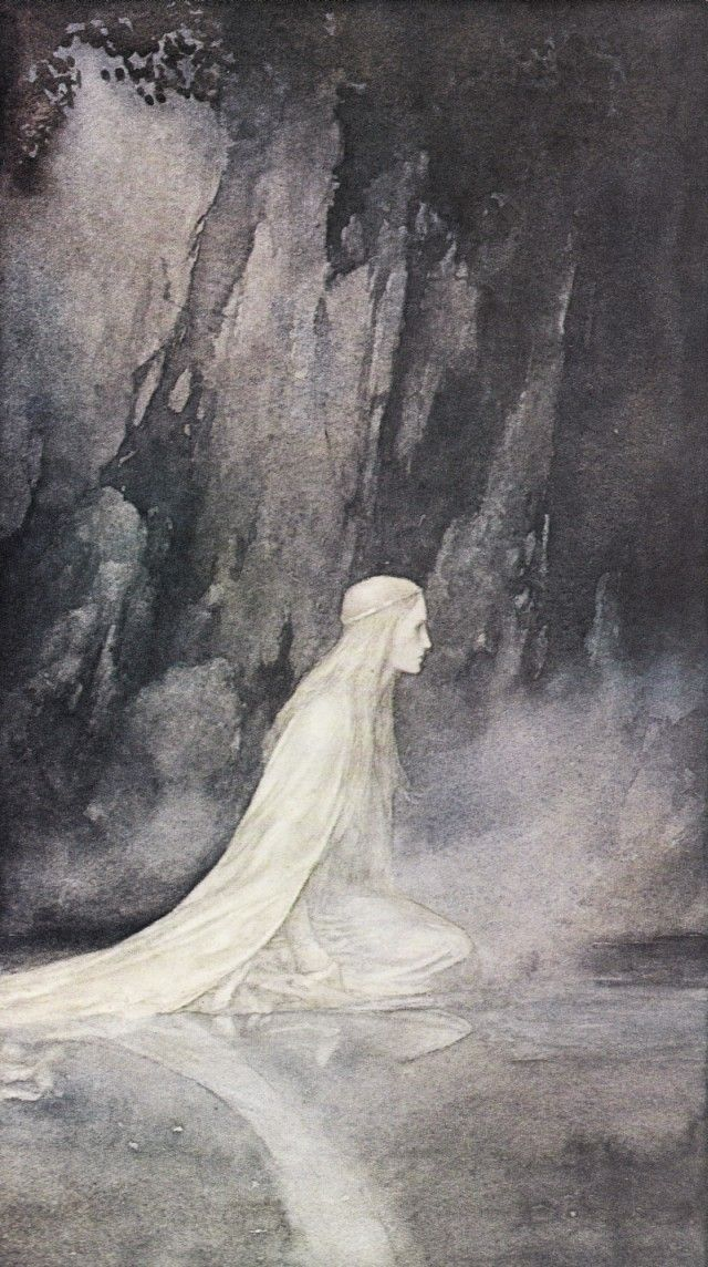 The Lady of the Lake by Alan Lee. From the book Faeries (1979). White ladies display fairy characteristics in some stories, like possessing the magic to turn flowers into gold. Perhaps white ladies are just fairies, but with the dying out of fairy beliefs, have been renamed ghosts.