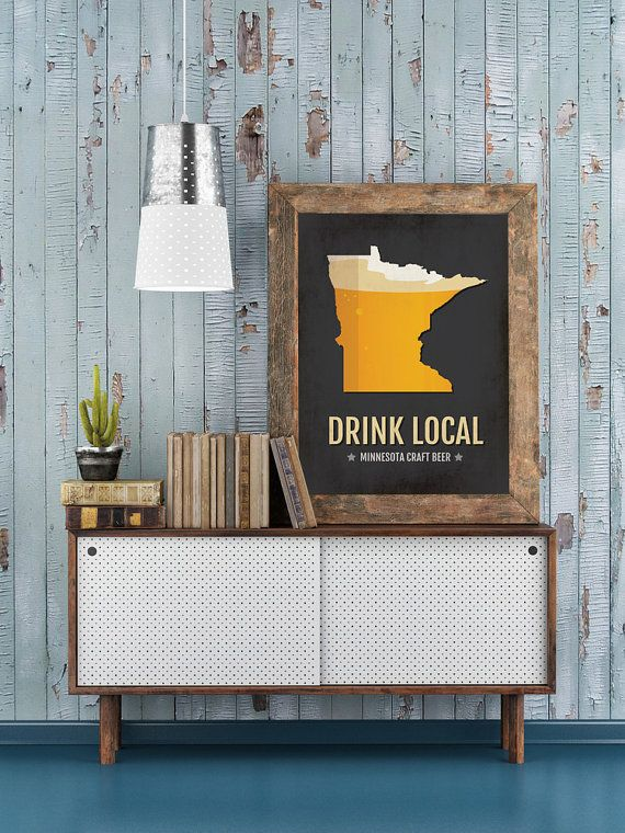 Minnesota Beer Print Map  MN Drink Local Craft Beer by Sproutjam