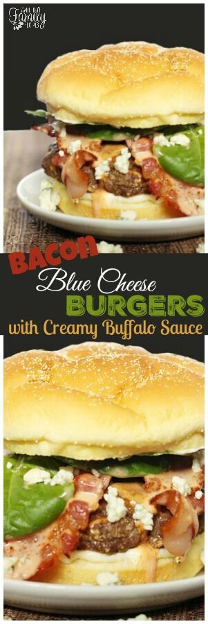 Bacon and Blue Cheese Burgers with Creamy Buffalo Sauce are so full of flavor!  Every bite is creamy, crunchy, and savory. via @favfamilyrecipz