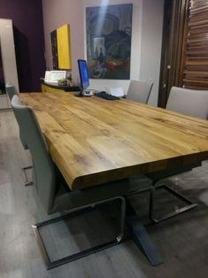 Solid oak tabletop with metal legs