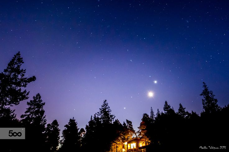 Venus, Jupiter and Mars in conjunction.