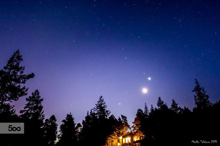 Venus, Jupiter and Mars in conjunction.