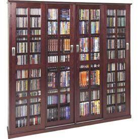 Entertainment Furniture   Multimedia Storage   Leslie Dame - Solid Oak Veneer Sliding Glass Door Multimedia Storage Cabinets - GlobalIndustr...