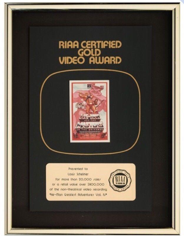 RARE Masters Of The Universe RIAA Gold Video Award Lou Scheimer Filmation MOTU
