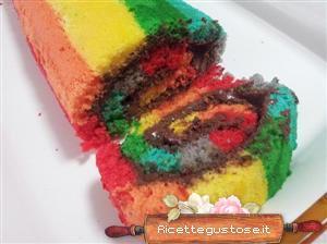 Rotolo alla nutella arcobaleno, rotolo raimbow con nutella. http://www.ricettegustose.it/Torte_1_html/Rotolo_arcobaleno_alla_nutella_rotolo_raimbow.html