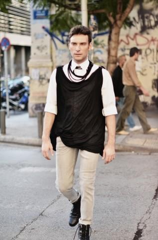 "Actor Konstantinos Lagos in ""Christina Skarpeli"" outfit"