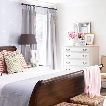 bedroom idea i would probably do soft blue accents instead of pink - Bedroom Furniture Arrangement Ideas