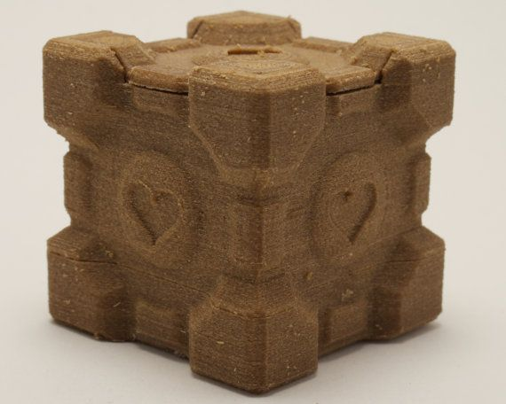 Wooden Companion Cube wedding ring box from Portal